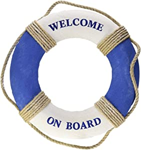 LIOOBO Nautical Mediterranean Welcome on Board Life Ring Decoration decorlife Ring Greeting (Blue + White)