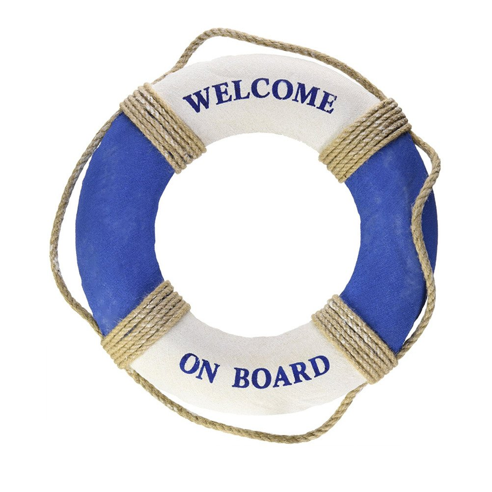 VORCOOL Nautical Mediterranean Style Welcome on Board Life Ring Swim Tube Wall Decoration Decor (Blue & White)