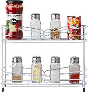 VEEYOO Spice Rack Organizer for Cabinet - 2 TierKitchen Cabinet Organizeror Spice Rack Wall Mount, Hanging Spice Shelf for Kitchen and Pantry Storing Spices, Household Items,Bathroom, (White)