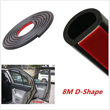 8M Big D Shape Auto Car Door Window Trim EPDM Tape Edge Seal Rubber Weatherstrip