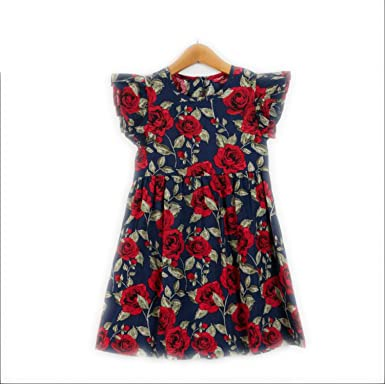 a57ce8cfd529 Amazon.com  Perfectme Children Clothing 2018 Summer Girls Dress Floral  Print Princess Dresses for Baby Girls Designer  Clothing