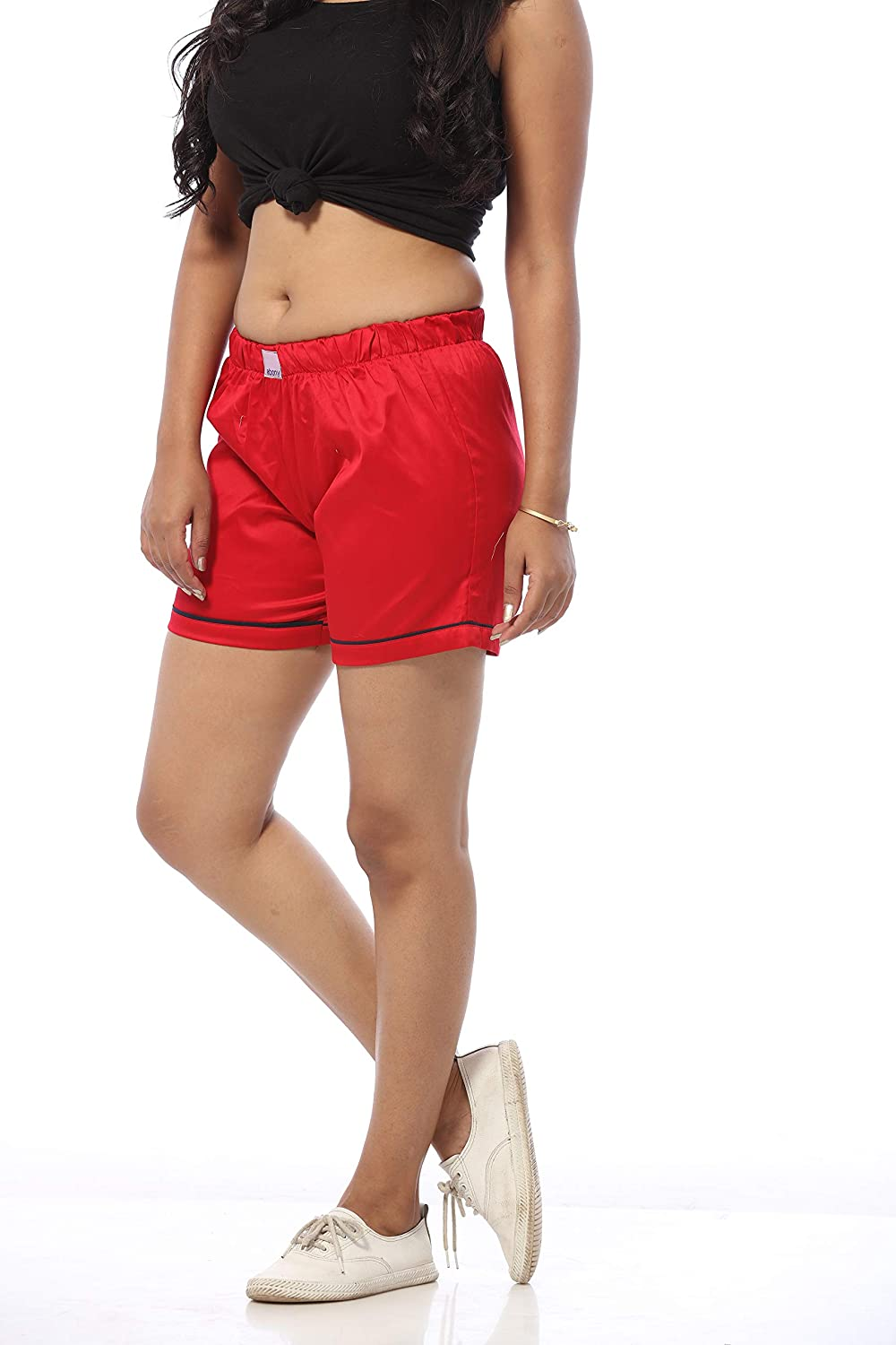 Abony Red Satin Casual Boxer Shorts for Women with Pocket (1644 GBC-S  p)   Amazon.in  Clothing   Accessories a1710ce399