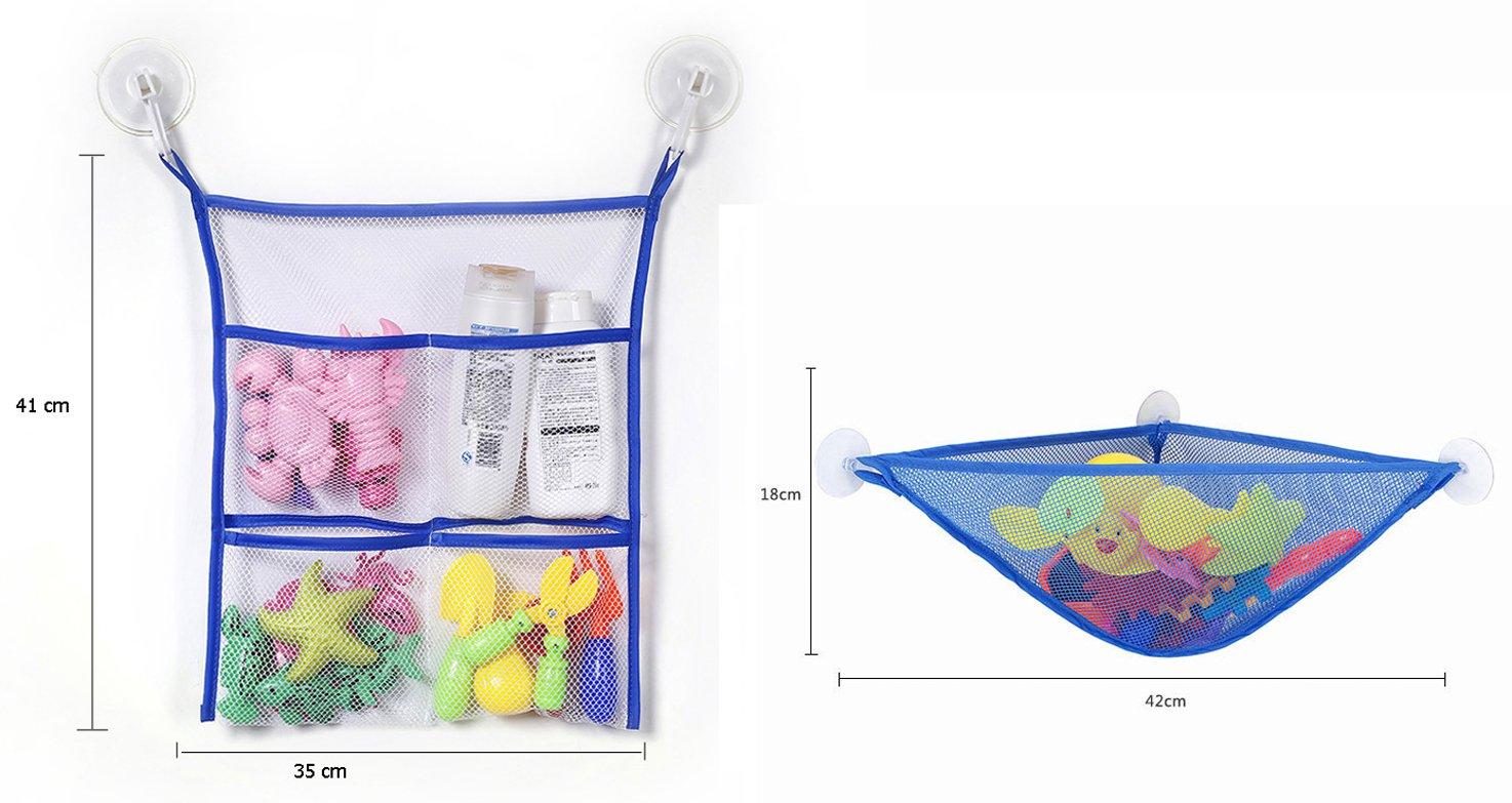 Alasida Bath Toy Organizer Set, 2 Mesh Bath Toy Storage Bag, 4 Strong Suction Cups Hook, 5 Cartoon Animal Toothbrush Holders by Alasida (Image #3)