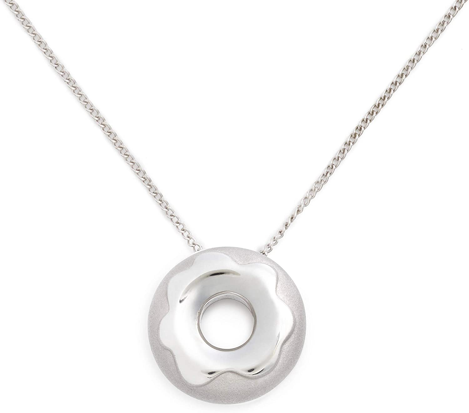 Delicacies Glazed Doughnut Necklace Jewelry, Sterling Silver, Food Jewelry for Food Lovers, Chefs, Cooks and Bakers