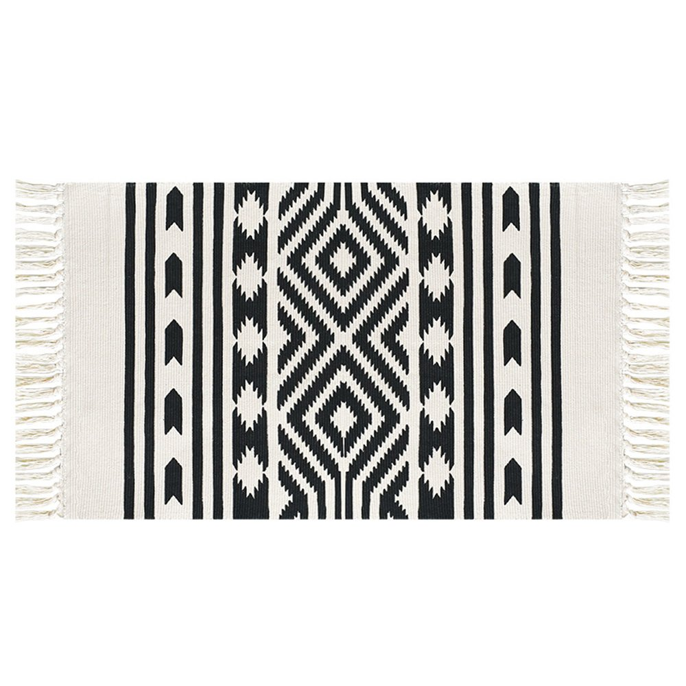 Cotton Handwoven Tassel Breathable Floor Mat/ Area Rug by Freelove,Table Covers,Sofa Slipcovers,Chair Pads for Kitchen, Living Room, Bedroom, Bathroom, Office (2' by 3', Black Tooth Diamond)