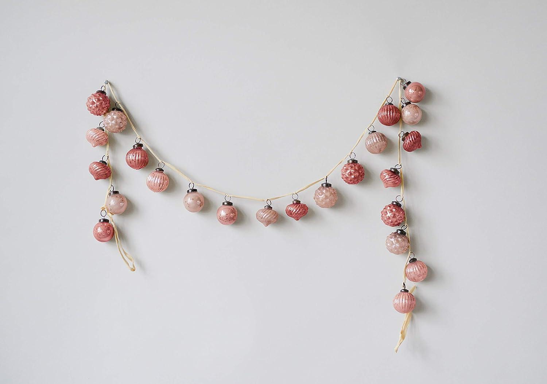 Creative Co-op Pink Embossed Mercury Glass Ornament Garland XM1419