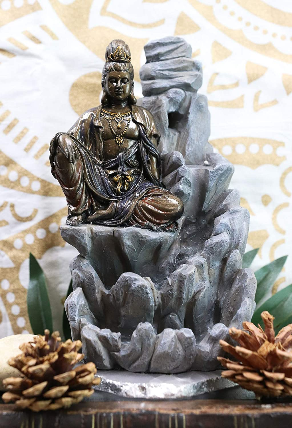 "Ebros Buddhism Bodhisattva Kuan Yin Meditating On Rocky Mountain Incense Burner Statue 7.5"" Tall Eastern Enlightenment Backflow Cone Guanyin Buddha Incense Holder"