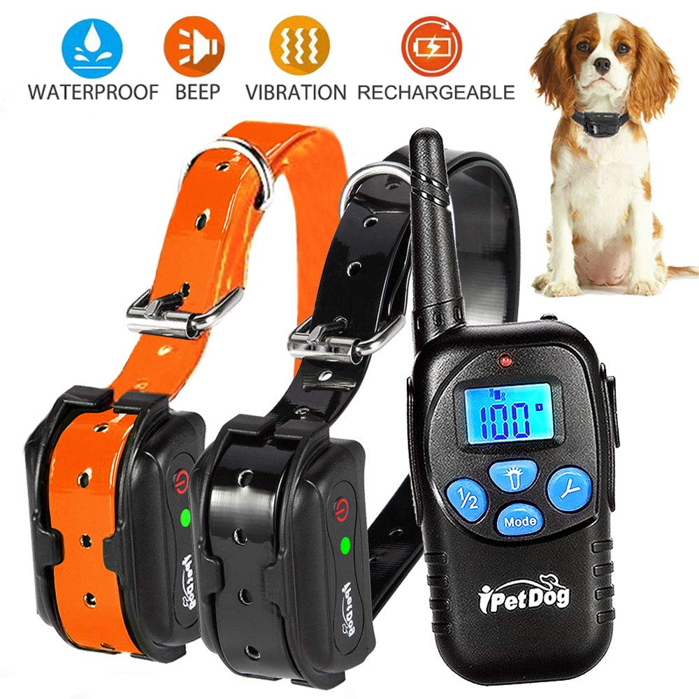 Fettish Dog Training Collar Rechargeable & Waterproof Electric Remote Dog Shock Collar with LED Light Beep Vibration Safety Shock Modes for Small/Medium/Large Training Collars by Fettish (Image #1)