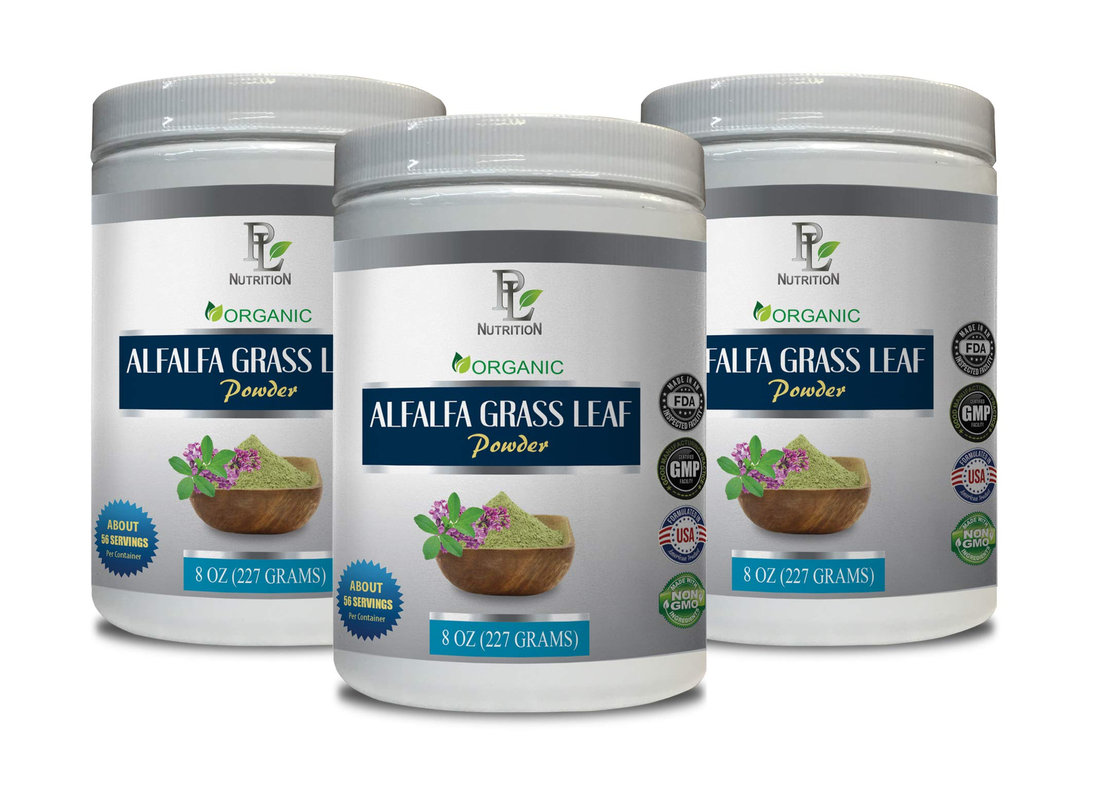 Super antioxidant Supplement Organic - Alfalfa Grass Leaf Organic Powder - Digestion Alfalfa - 3 Cans 24 OZ (168 Servings)