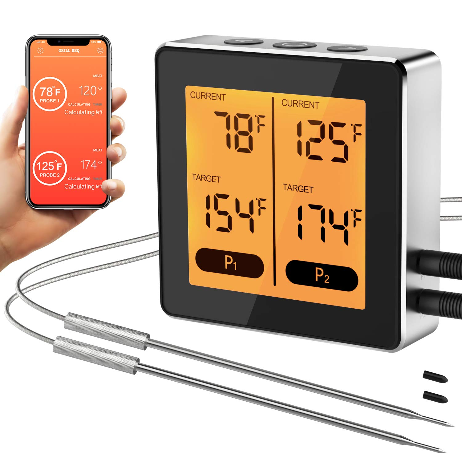 TURATA Bluetooth Meat Thermometer Smart APP Remote Control Digital Wireless Cooking Thermometer Alarm Timer for Grilling, Oven, Smoker and BBQ, 17 Types of Foods, 5 Tastes and Programmed Setting
