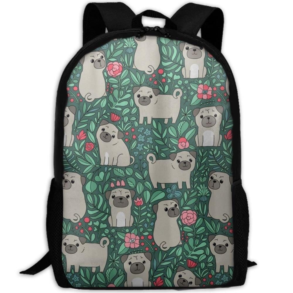 malsjk8かわいいパグ犬キャンバスバックパックショルダーバッグブックバッグスクールバッグ旅行バックパックfor Teens   B07G28W9HW