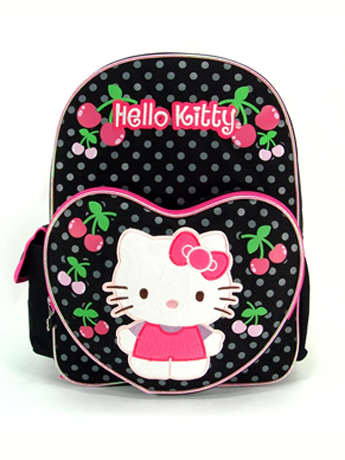 0f8631b298 Amazon.com  Sanrio Hello Kitty Backpack - Black Polka Cherry 16