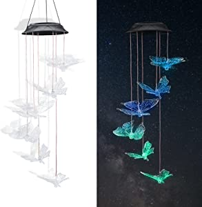 Litviz Solar Butterfly Wind Chimes Pretty Solar Powered Butterfly Chimes Light Ornaments Decoration for Outdoor Home Garden Party Night (Transparent Butterfly)