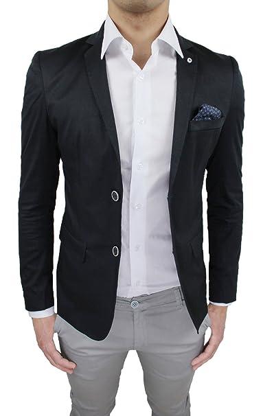 wholesale dealer 5dfa3 c91e8 Giacca Uomo Sartoriale Nero Slim Fit Aderente Casual Elegante Nuova
