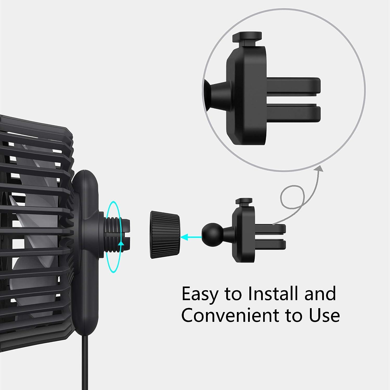 Mini USB Ventilatore per Sfiato dellautomobile 3 velocit/à Rotazione A 360 /° Ventilatore Forte di Raffreddamento per Auto Adatto Autovetture SUV Automobili Ventilatore EasyAcc Ventilatore per Auto