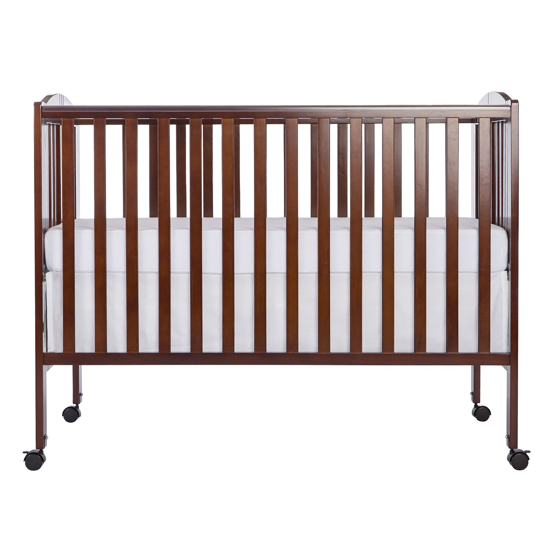 Dream On Me Full Size 2 in 1 Folding Stationary Side Crib, Espresso