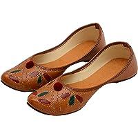 TS NANDA Women's Artificial Leather Ethnic Juttis Brown