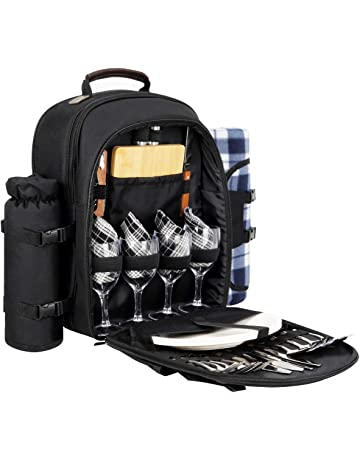 65d44d2ed5 Sunflora Picnic Backpack for 4 Person Set Pack with Insulated Waterproof  Pouch for Family Outdoor Camping