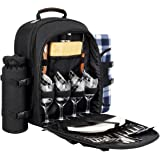 Sunflora Picnic Backpack for 4 Person Set Pack with Stainless Steel Flatwares and Insulated Waterproof Pouch for Family Outdoor Camping (Black)