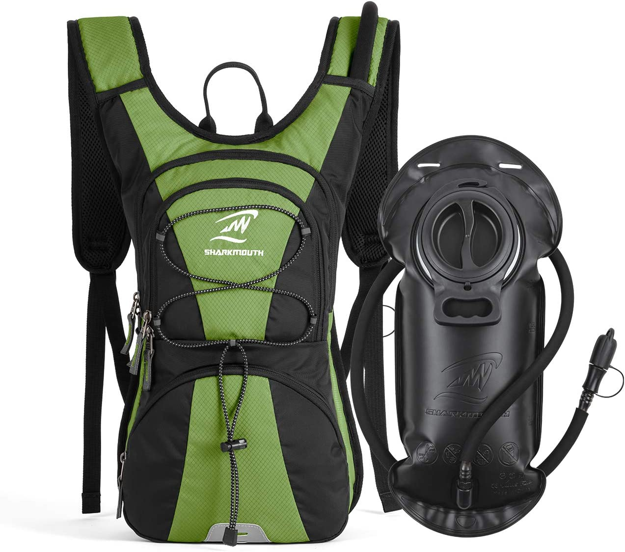 Day Trips and Trails SHARKMOUTH FLYHIKER Hiking Hydration Backpack Pack with 2.5L BPA Free Water Bladder Lightweight and Comfortable for Short Day Hikes