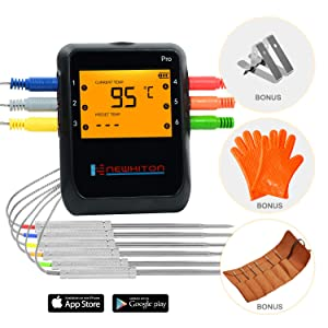 Newkiton Smart Wireless Meat Thermometer with 6 Stainless Steel Probes, APP Controlled Bluetooth Digital Thermometer for Cooking Smoker Grill Barbecue Oven Kitchen, Support iOS & Android