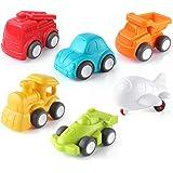 PEDY Mini Coches Coches Camiónes Vehículos de Juguete, Set de Pulse y Go Fricción Vehículos Establecidos para Niños y Ñiñas (6 PCS)