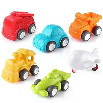 PEDY Mini Coches Coches Camiónes Vehículos de Juguete, Set de Pulse y Go Fricción Vehículos