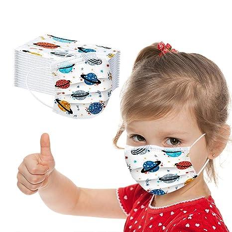 Imagen deMrTom Niños 𝐌𝐚𝐬𝐜𝐚𝐫𝐢𝐥𝐥𝐚𝐬 Desechables de Filtro de 3 Capas con Pendientes Elásticos, 50 unidades, Dibujos Animados patrón (Astronauta)