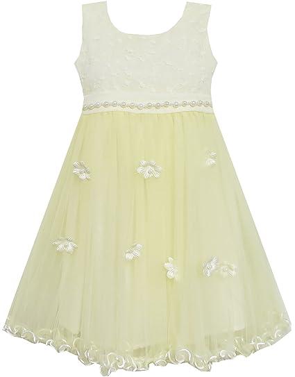 FW52 Sunny Fashion - Vestido liso para niña amarillo 6 años