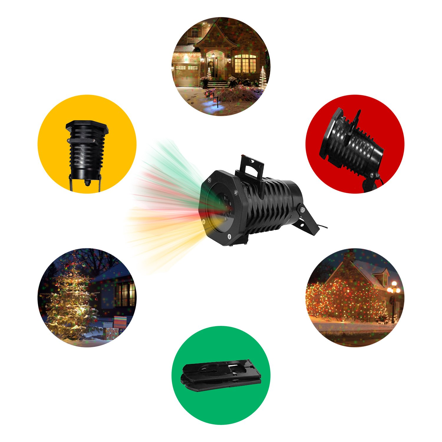 Christmas Lights Projector – Multicolor Rotating Led Christmas Shower lights, 10PCS Pattern Waterproof Lens Christmas Projector Lights Outdoor / Indoor for Celebration, Garden Decorations and more by Novapolt (Image #4)