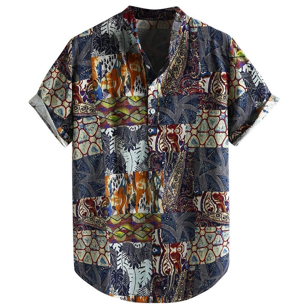 TIFENNY Men's Color Block Shirts Cotton Linen Printed Turn Down Collar Short Sleeve Loose Casual Shirt Tops Summer Tee