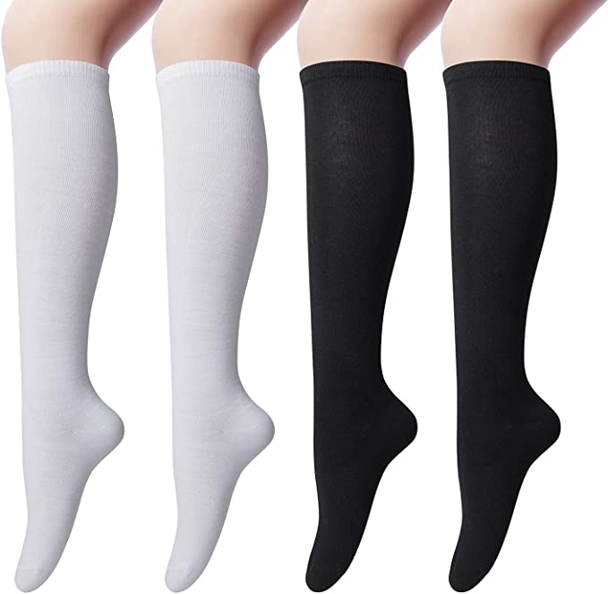 4 pairs Womens Cotton Knee High Socks, Casual Solid Knit Knee ...