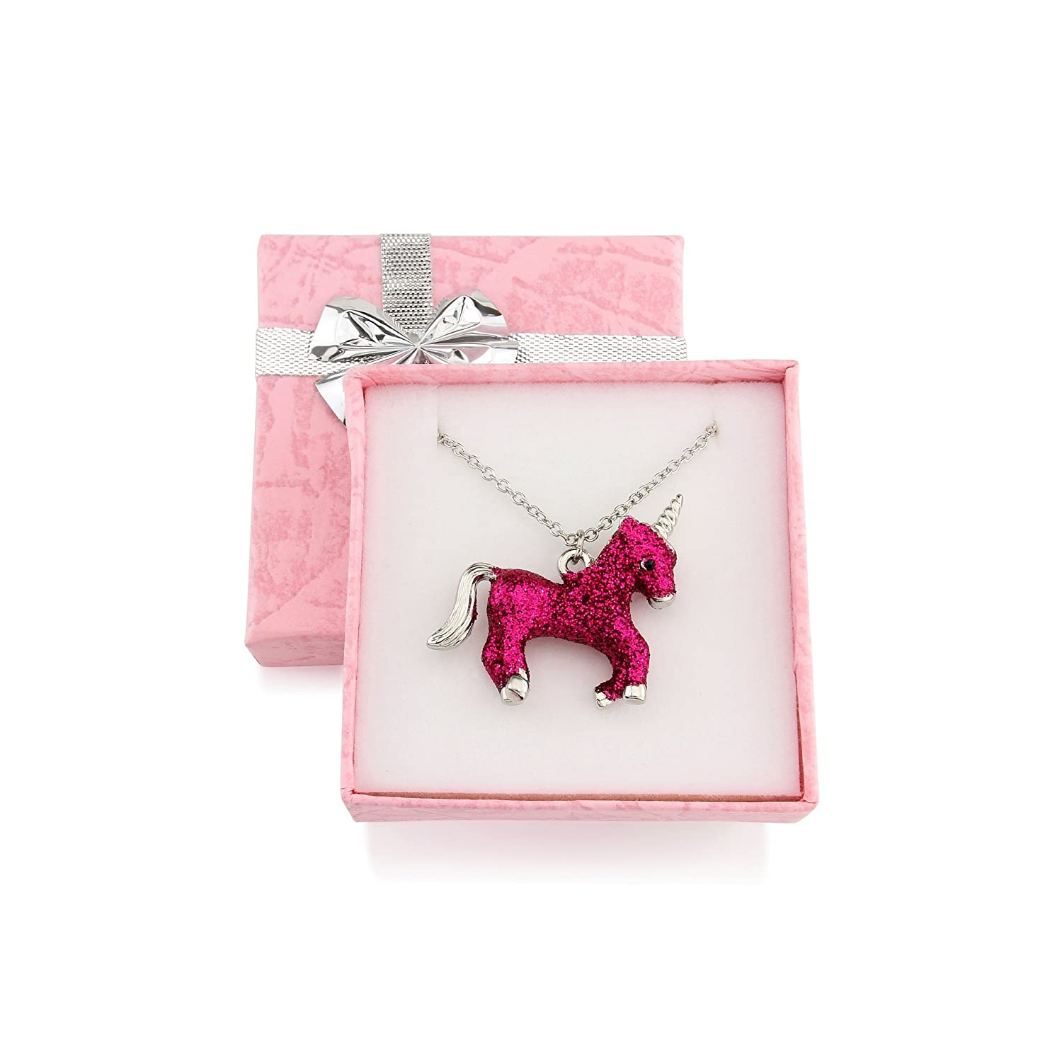 Signed With a Kiss Sparkly Pink Children's Unicorn necklace gift boxed unique unicorn gift for girls 5-12years Chic