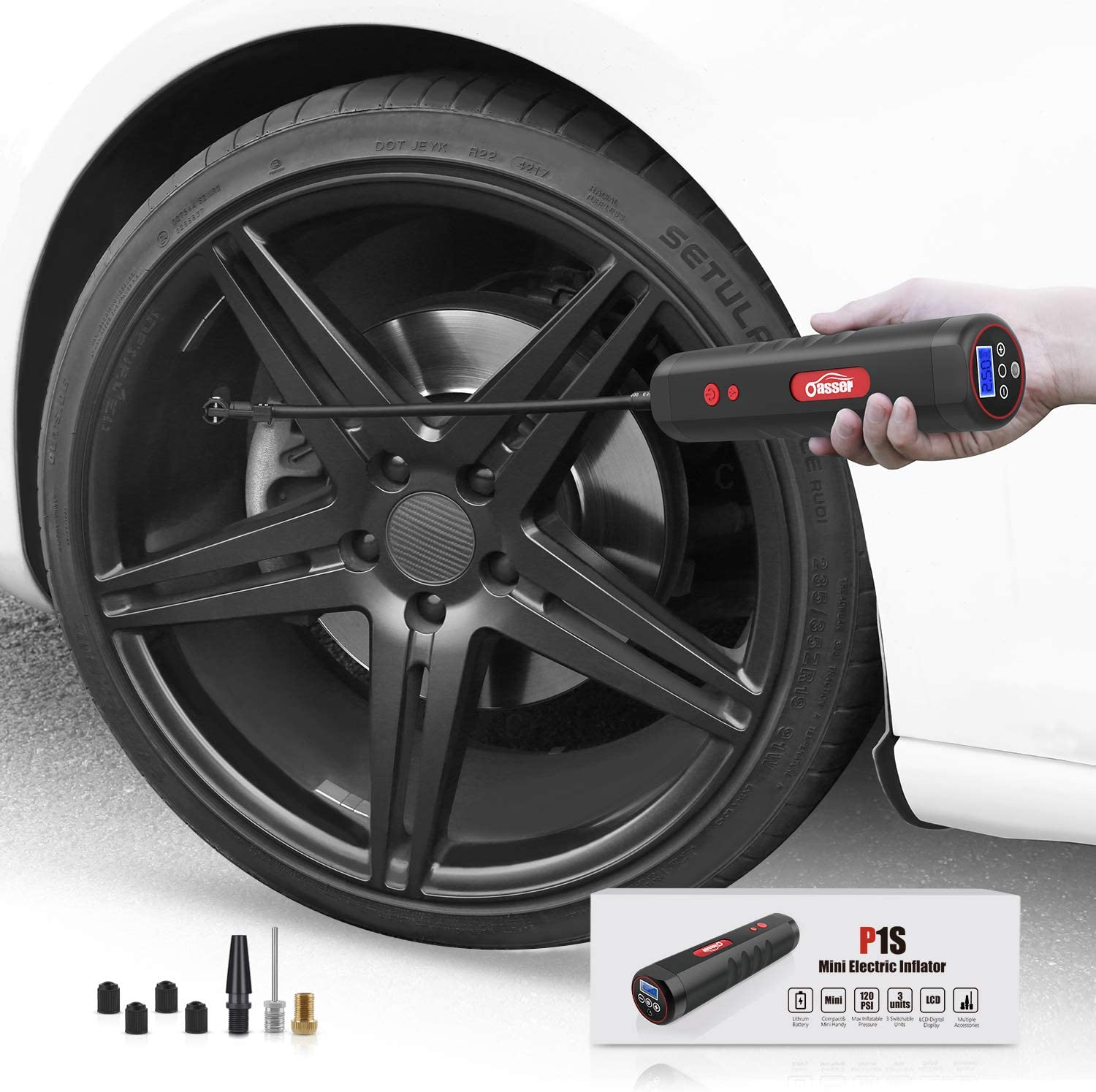 Oasser Air Compressor Portable Mini Air Inflator Hand Held Tire Pump 2000mAh with Digital LCD LED Light 12V AC DC Lithium Battery 120PSI 20Litres//Min for Car Bicycle Tires and Other Inflatables P1S