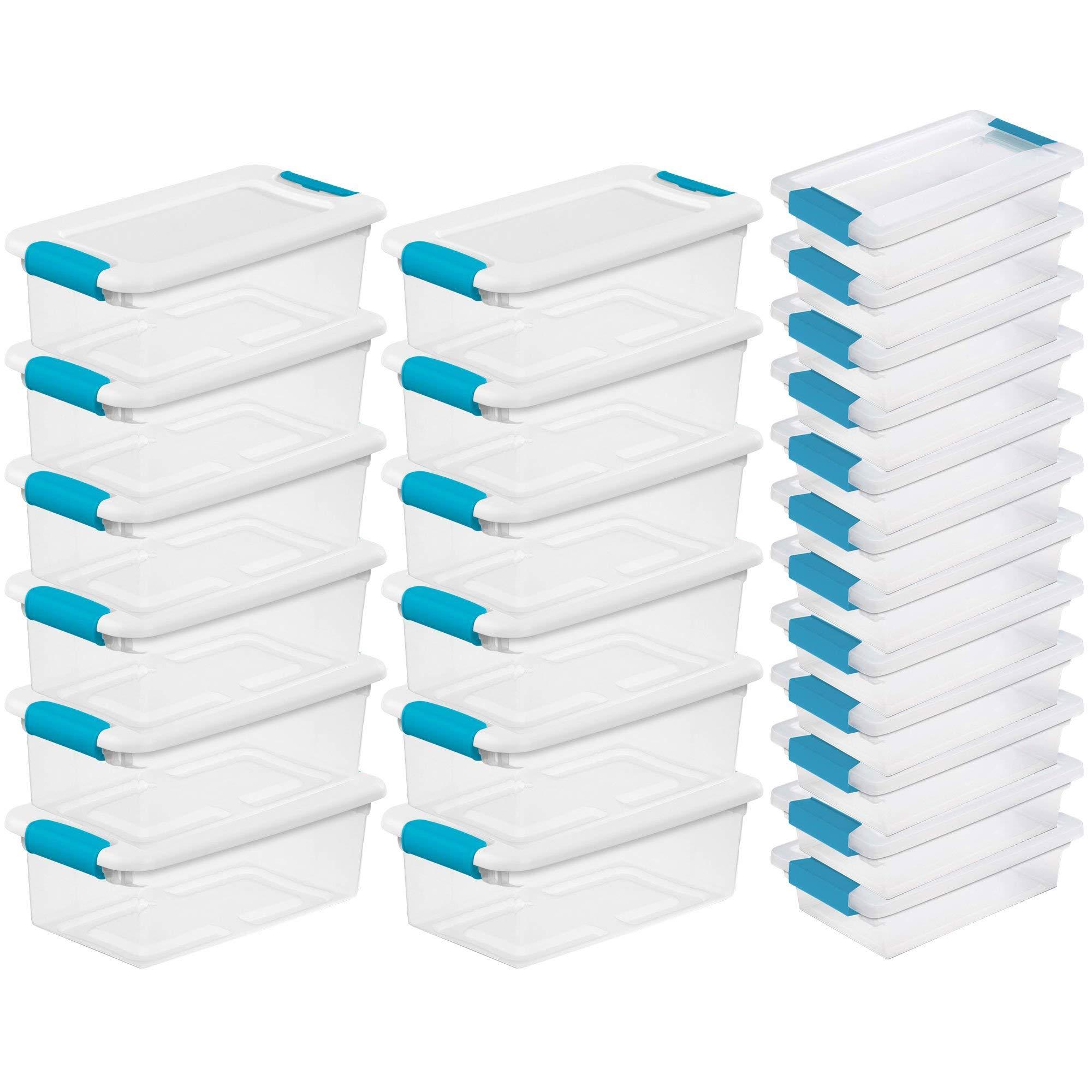 STERILITE 6 Qt Stackable Storage Box Container & Small File Clip Box (12 Each) by STERILITE