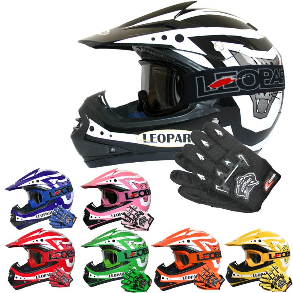 53-54cm Leopard SET DEAL LEO-X17 Children Kids CUB Motocross Motorbike Helmet + Gloves + Goggles - Blue L