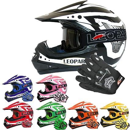 49-50cm - Children Cub Dirt Quad Bike MX Motorbike Helmet Blue S Leopard LEO-X16 Kids Motocross HELMET /& GOGGLES