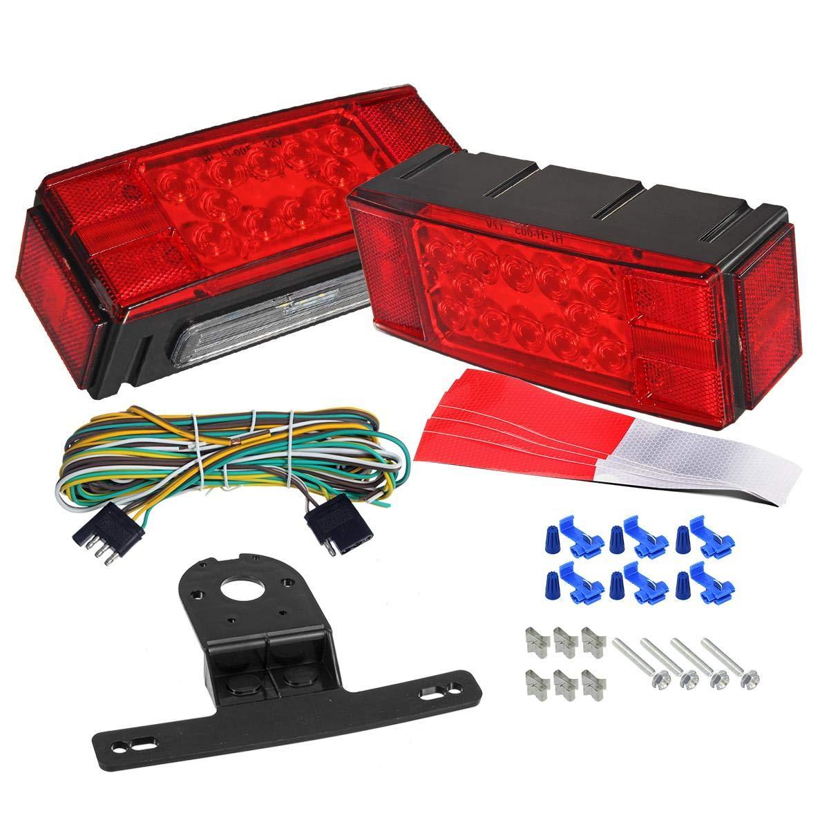 2PCS LIMICAR 12V Square LED Trailer Light Kit Red White LED Stop Turn Tail License Brake Running Lights for Trailer Truck Marine RV Boat Camper Snowmobile Waterproof