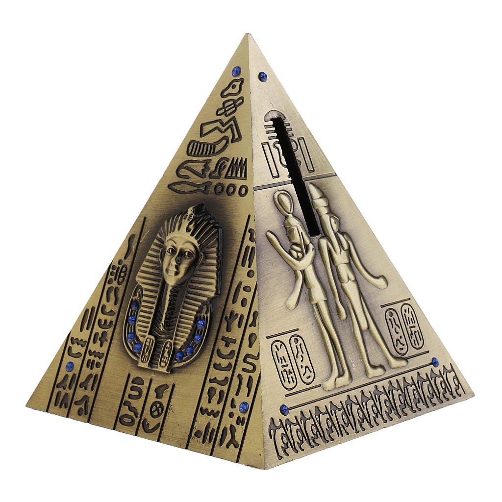 Bronze KESOTO Tirelire Pot Pyramides d/Égypte M/étal