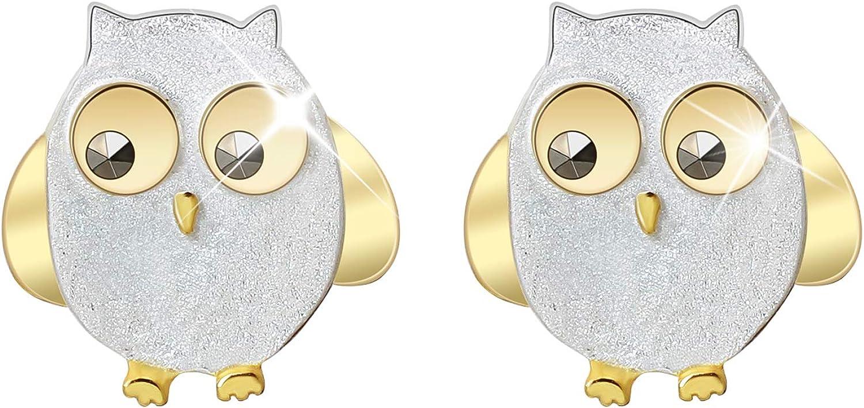 Lotus Fun - Pendientes de tuerca de plata de ley S925 con diseño de búho con diamantes de imitación negros para mujeres y niñas, hecho a mano con joyería única