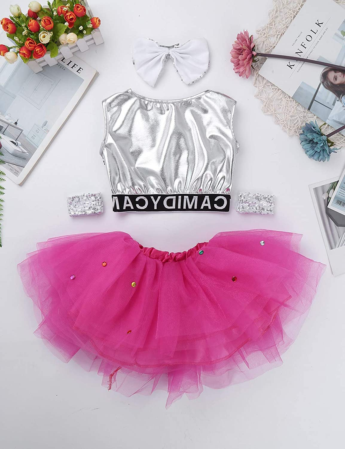 ec7f1787ca93 Amazon.com: iEFiEL Girls Sequined Crop Top with Tutu Skirt Hair Clip  Costume Kids Choir Jazz Dance Stage Performance Fancy Dress Up: Clothing