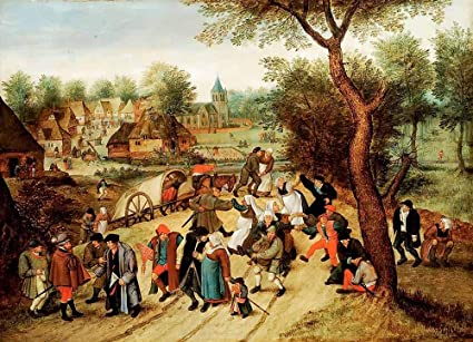 Pieter Brueghel Le Jeune De Retour De Vacances Tableau Reproduction Sur Toile Roulee 60x45 Cm Peintures Scenes De Village Impressions Pour Mur Amazon Fr Cuisine Maison
