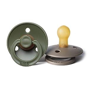 BIBS BPA-Free Natural Rubber Baby Pacifier | Made in Denmark (Hunter Green/Dark Oak, 0-6 Months) 2-Pack