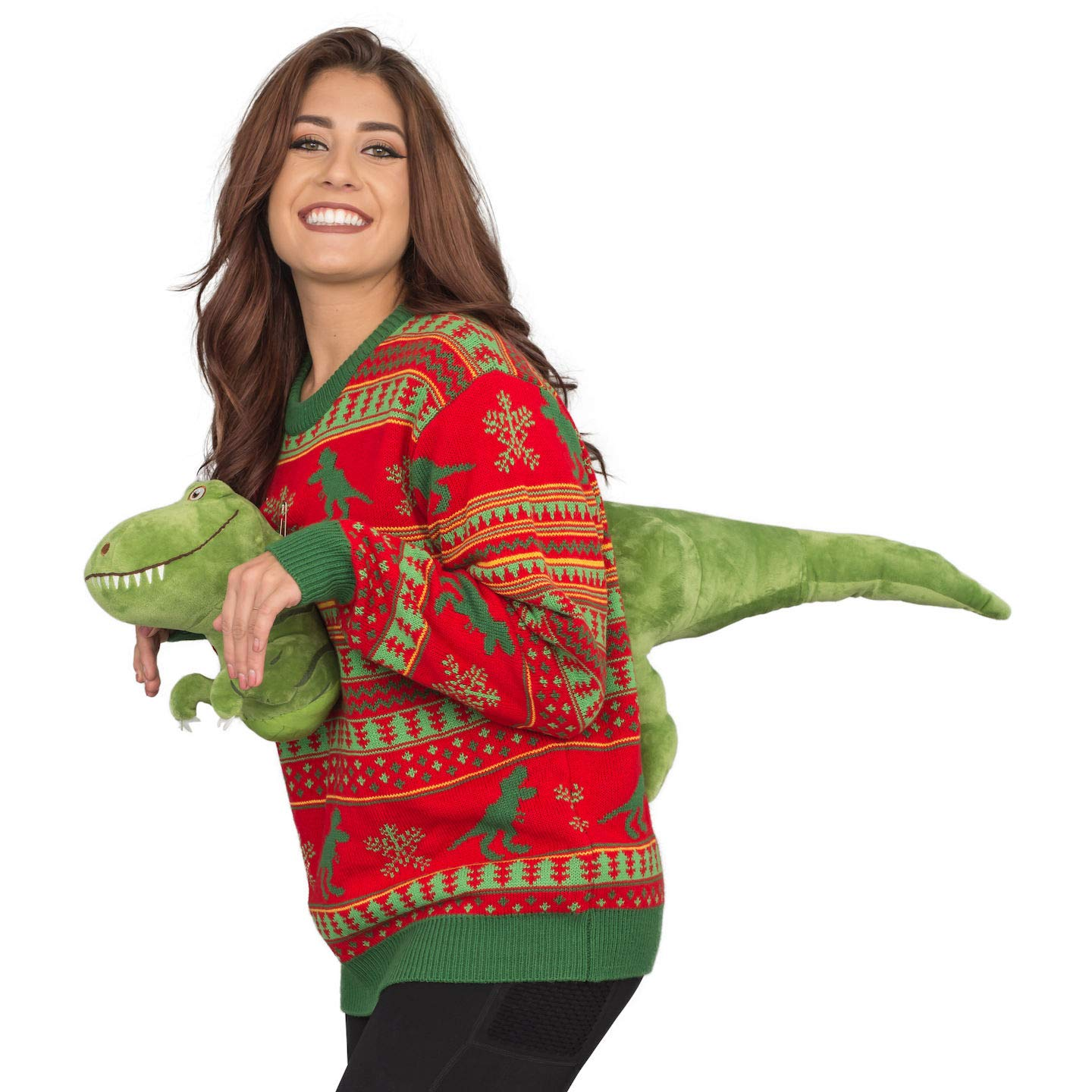 T Rex Ugly Christmas Sweater.Amazon Com 3d T Rex Red And Green Adult Ugly Christmas