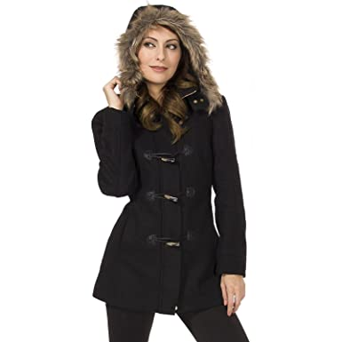 Amazon.com: Alpine Swiss Duffy Women's Wool Coat Fur Trim Hooded ...
