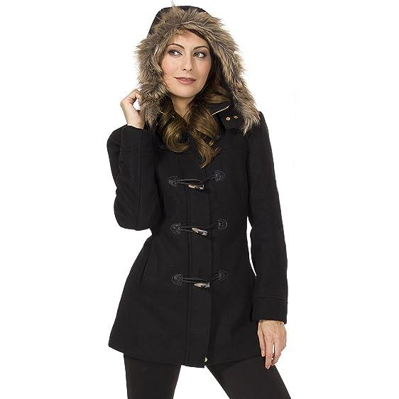 Amazon.com: Alpine Swiss Duffy Women's Wool Coat Fur Trim Hooded ...