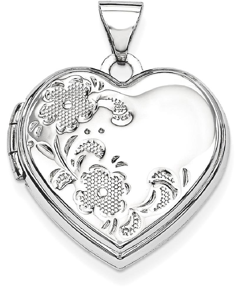ICE CARATS 14k White Gold Heart Shaped Floral Photo Pendant Charm Locket Chain Necklace That Holds Pictures