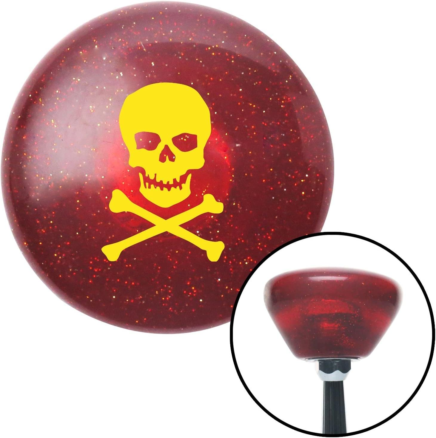 Yellow Skull and Bones American Shifter 195858 Red Retro Metal Flake Shift Knob with M16 x 1.5 Insert
