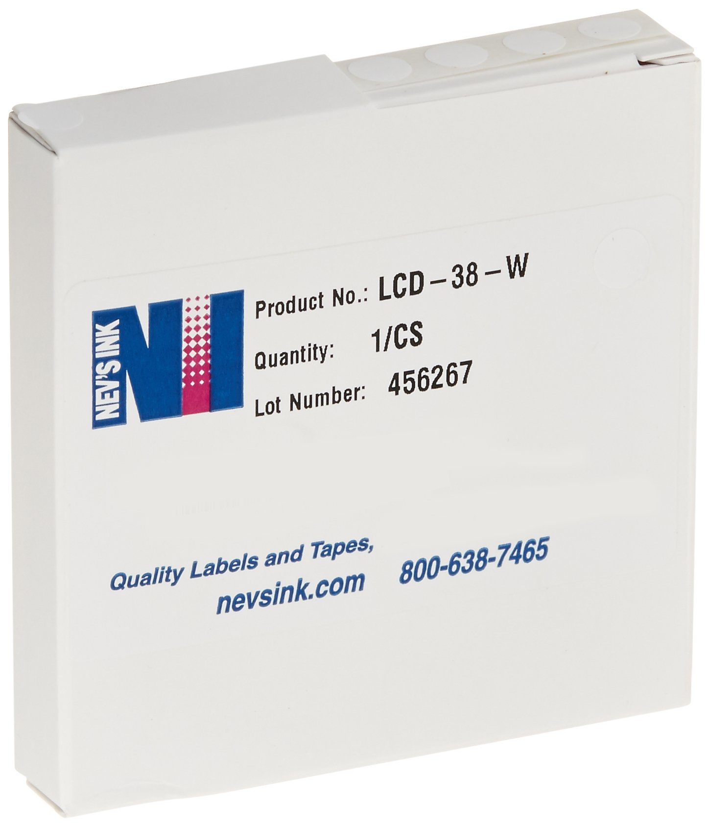 Nev's Ink LCD-38-W Lab Cryogenic Dot Circle Label, 3/8'' Diameter, White (Roll of 1000)