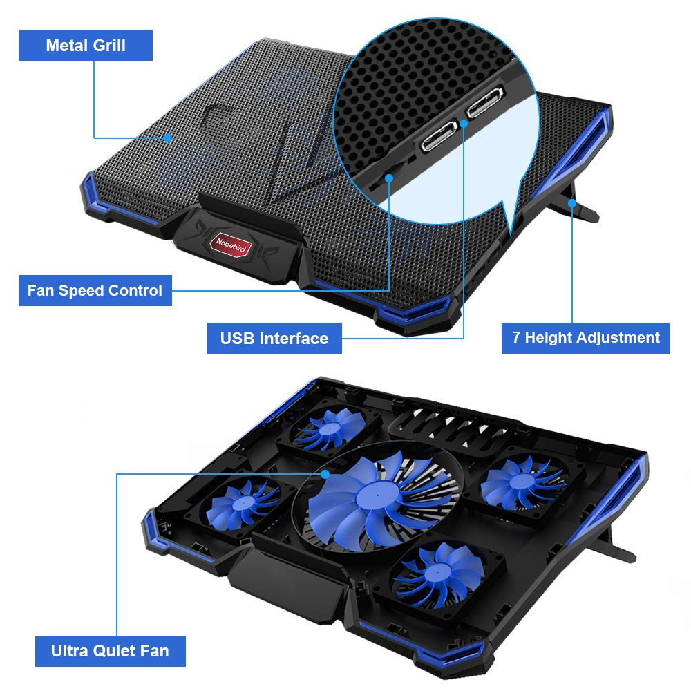 Nobebird Laptop Cooler, Laptop Cooling Pad with 5 Quiet Fans for 12-17.3 Inch Laptop, Cooler Pad with LED Light, Dual 2 USB Ports, Adjustable Mount Stand Height Angle (5 Fans) (Blue)